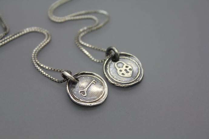 Wax Seal Heart and Key Set in Sterling Silver - Ashley Lozano Jewelry