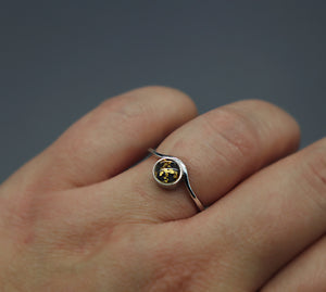 24k Gold Flake Silver Cremation Ash Ring - Ashley Lozano Jewelry