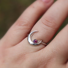 Silver Crescent Moon Cremation Ring - Ashley Lozano Jewelry