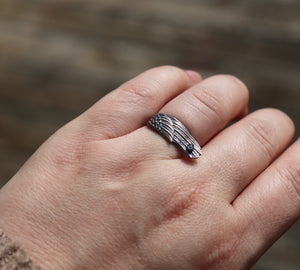 Silver Angel Wing Ring with Cremation Ashes - Ashley Lozano Jewelry