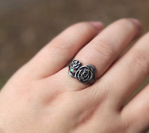 Sterling Rose Ring with Cremation Ashes - Ashley Lozano Jewelry