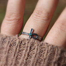 Unisex Silver Ankh Ash Ring with Cremains - Ashley Lozano Jewelry