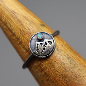 Sterling Silver Mountain Ring with Cremation Ashes - Ashley Lozano Jewelry