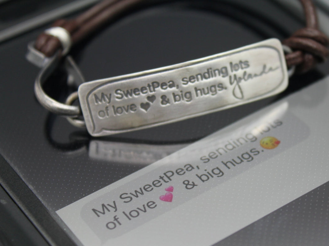 Last Text Message Memorial Bracelet In Sterling Silver And Leather - Ashley Lozano Jewelry