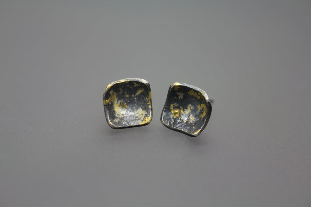 Black and Gold Keum Boo Stud Earrings - Ashley Lozano Jewelry