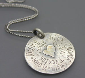 Custom Family Name Grandma Necklace In Silver With Gold Accent - Ashley Lozano Jewelry