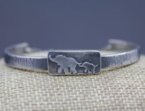 Custom Silver Mom and Baby Elephant Bracelet - Ashley Lozano Jewelry