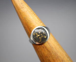 Unisex 24k Gold Flake Signet Ring with Cremation Ashes - Ashley Lozano Jewelry