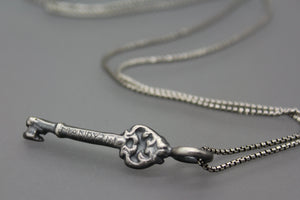 Personalized Engraved Silver Key Necklace - Ashley Lozano Jewelry