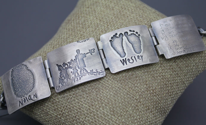 Personalized Silver Hinged Memory Bracelet With Fingerprints - Ashley Lozano Jewelry