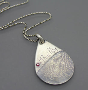 Silver Personalized Tear Drop Memorial Necklace With Fingerprint - Ashley Lozano Jewelry