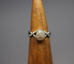 Pear Shaped Cremation Ring with Opal Inlay - Ashley Lozano Jewelry