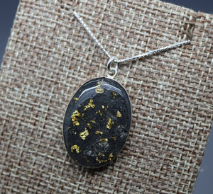 Gold Flake Cremation Ashes Necklace