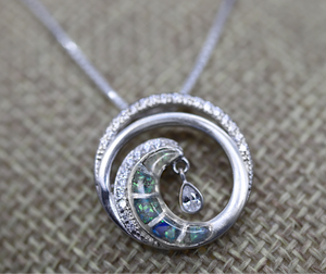 Ocean Wave Cremation Ashes Necklace