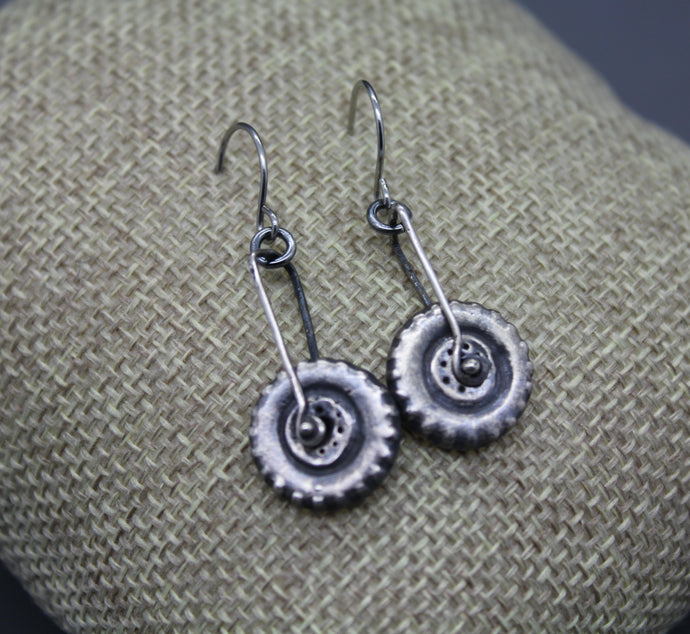 Silver Spinning Tire Earrings Made From Your Child's Toy Car Tires - Ashley Lozano Jewelry