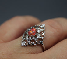 Elegant Silver Cremation Ash Ring with Crushed Opal