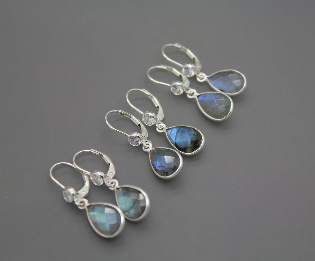 Sterling Silver And Natural Labradorite Earrings - Ashley Lozano Jewelry