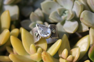Silver Prasiolite And Peridot Leaf Imprint Ring - Ashley Lozano Jewelry