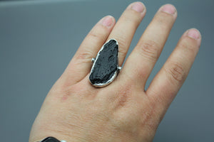 Tektite And White Sapphire Ring In Silver - Ashley Lozano Jewelry