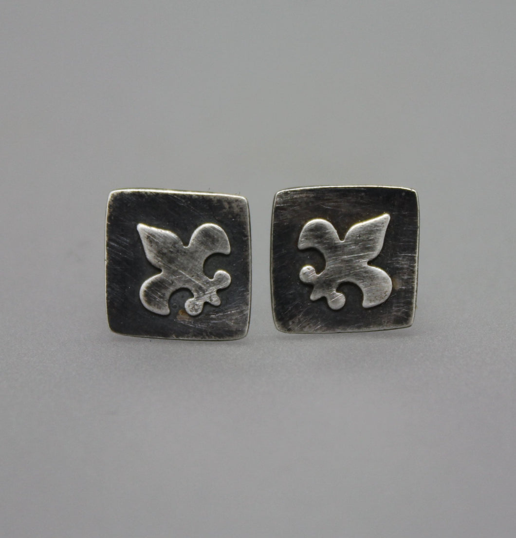 Silver Fleur De Lis Stud Earrings - Ashley Lozano Jewelry