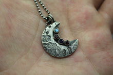 Silver Crescent Moon Birthstone Necklace - Ashley Lozano Jewelry