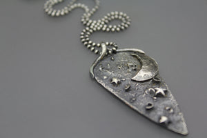 Moon & Star Diamond Cremation Necklace - Ashley Lozano Jewelry