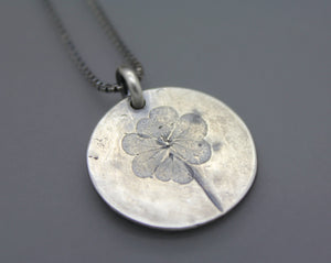 Silver Cremation Necklace with Genuine Clover Impression - Ashley Lozano Jewelry