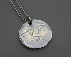 Sterling Silver Hummingbird Necklace with Personalization - Ashley Lozano Jewelry