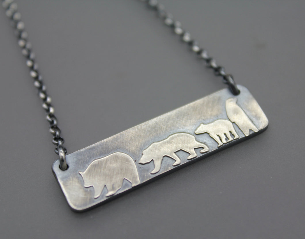 Mamma Bear Necklace with Three Cubs - Ashley Lozano Jewelry