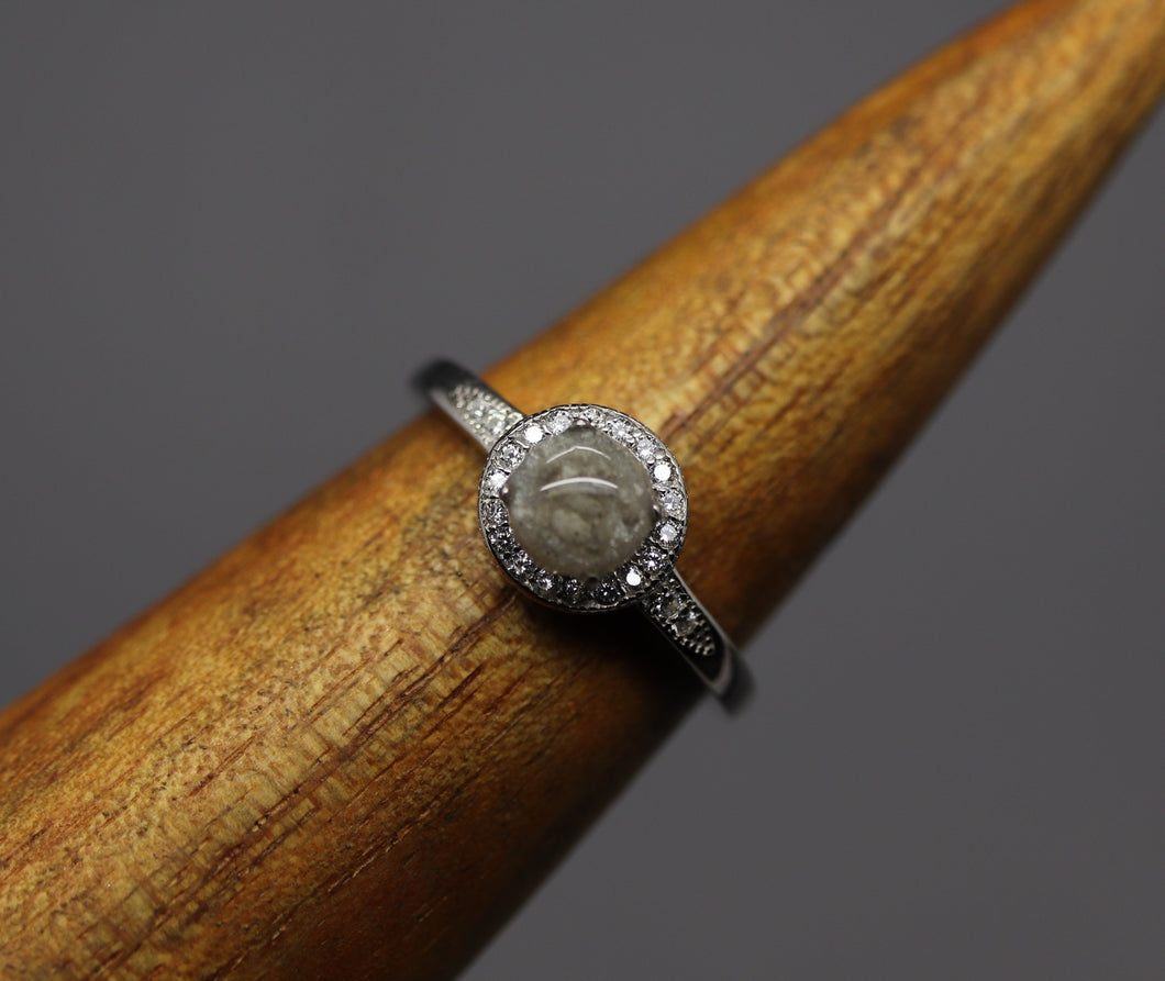 Halo Cremation Ring in Silver