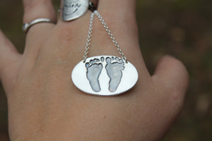 Custom Baby Footprint Oval Necklace in Silver - Ashley Lozano Jewelry