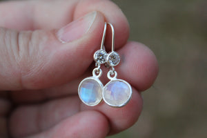 Sterling Silver Natural Moonstone Earrings - Ashley Lozano Jewelry