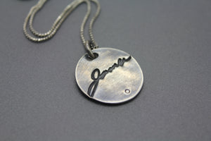 Actual Signature Necklace with Birthstone in Sterling Silver - Ashley Lozano Jewelry