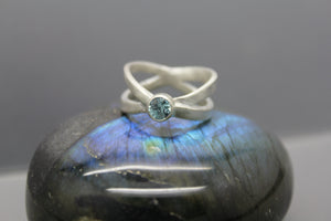Cremation Crossover Ring in Sterling with Infused Ashes - Ashley Lozano Jewelry