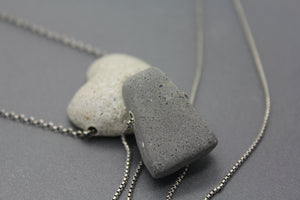 Cremation Infused Concrete and Sterling Memorial Necklace - Ashley Lozano Jewelry