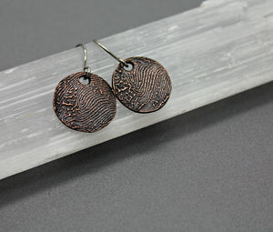 Copper Personalized Fingerprint Earrings - Ashley Lozano Jewelry