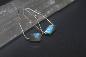 Faceted Labradorite Chunk Earrings - Ashley Lozano Jewelry