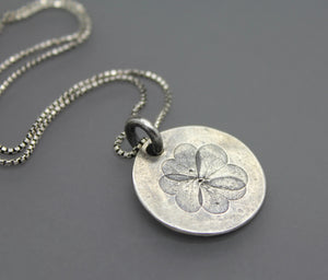 Real Clover Impression Pendant in Sterling Silver - Ashley Lozano Jewelry