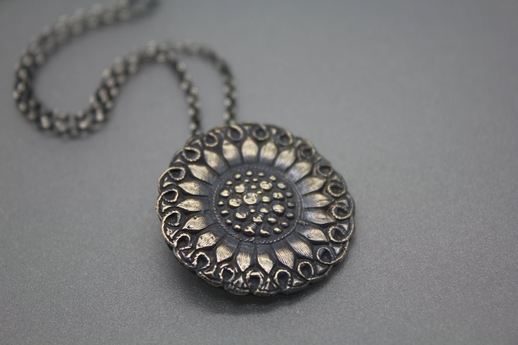 Silver Sunflower Necklace Infused with Cremation Ashes - Ashley Lozano Jewelry