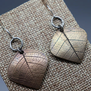 Bronze And Silver Earrings With Real Leaf Imprints - Ashley Lozano Jewelry