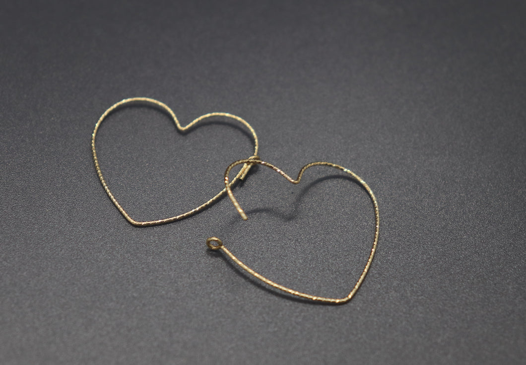 Gold Fill Textured Heart Hoop Earrings - Ashley Lozano Jewelry