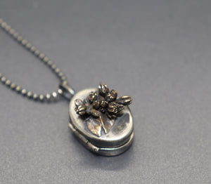 Mixed Metal Bouquet Locket, One of a Kind - Ashley Lozano Jewelry