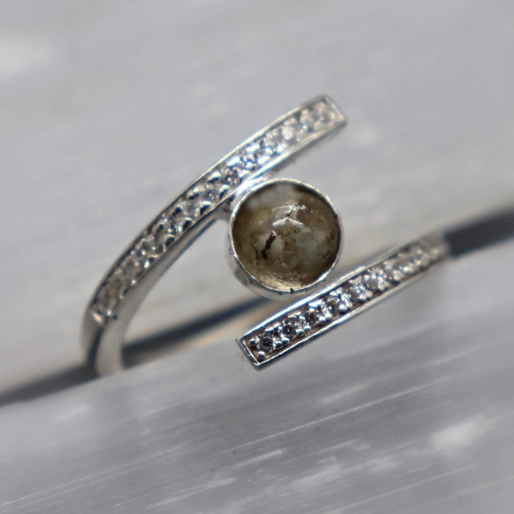 Wrap Around Cremation Ash Ring with Cubic Zirconia - Ashley Lozano Jewelry