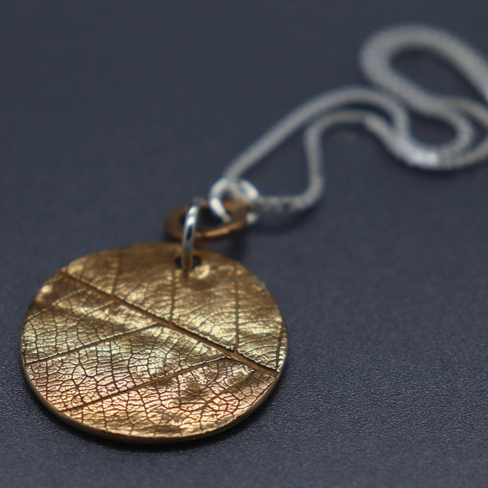 Bronze and Silver Leaf Imprint Necklace