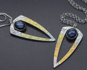 Silver and Gold Kyanite Necklaces
