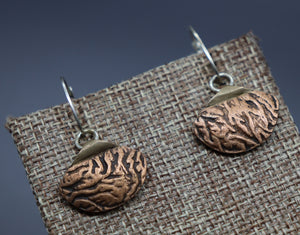 Reversible Bronze and Copper Fan Earrings - Ashley Lozano Jewelry