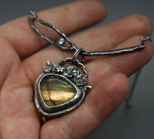 Golden labradorite silver necklace
