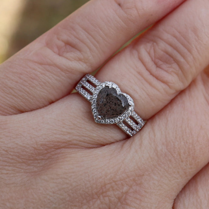 Cremation Heart Ring with Cubic Zirconia - Ashley Lozano Jewelry