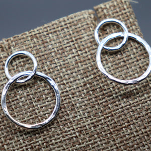 Double Circle Swaying Silver Post Earrings - Ashley Lozano Jewelry