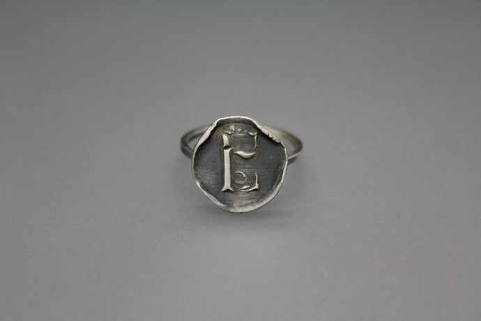 Silver Wax Seal Letter Ring - Ashley Lozano Jewelry
